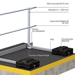 barrial-autoporte-systeme-gardecorps-leste-aluminium-toiture-terrasse-securite-chutes-contrainte-rabattable-contrepoids-mains-courantes-innaccessible-securisation-montants-assemblage